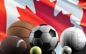 Drapeau canada ballons balles tennis football soccer basket volley baseball pool